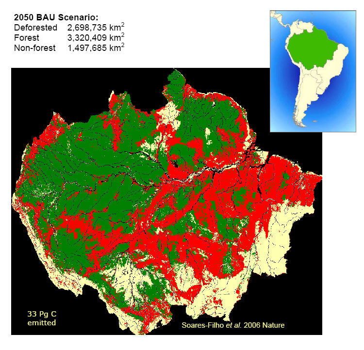 amazon rainforest 2050 map