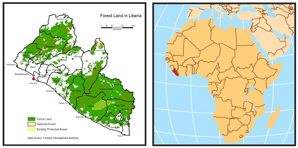 Liberia Africa forest map
